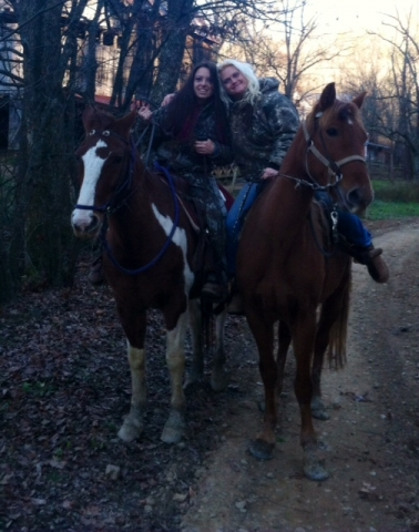Horseback riders in the cold weather
